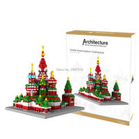 hot LegoINGlys city creators architecture Saint Basil's moscow Vasily Cathedral model mini micro diamond blocks nano bricks toys
