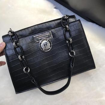 Kafunila 2019 new arrival retro genuine leather bag high quality famous brand designer crocodile pattern lock shoulder bag bolsa
