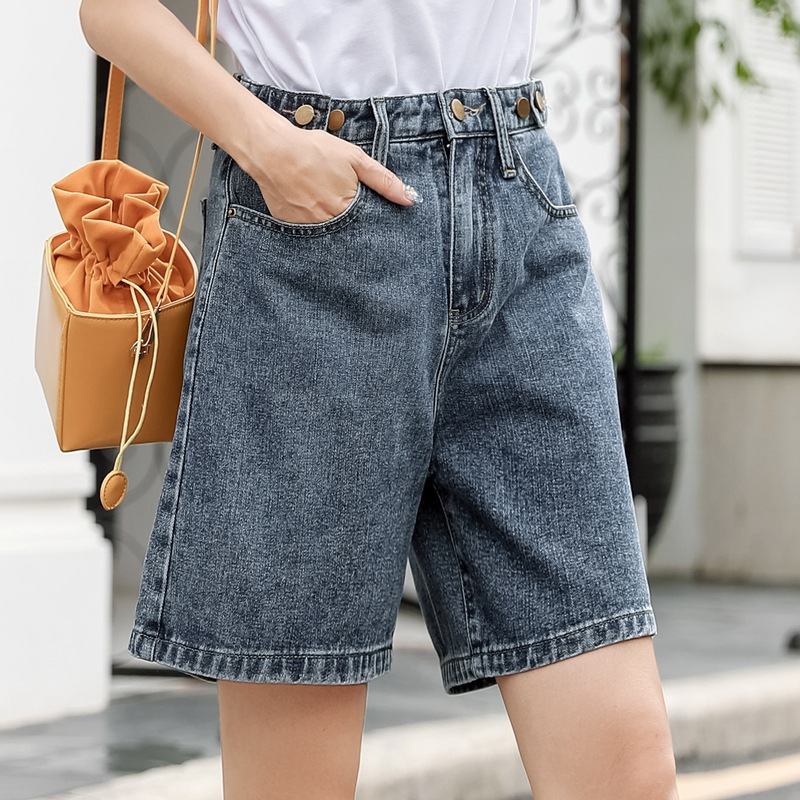 Summer Women Solid Straight Denim Shorts Female Casual Korean Pockets Sweet Shorts Mujer Empire Button Fly Sexy Mini Jeans Short