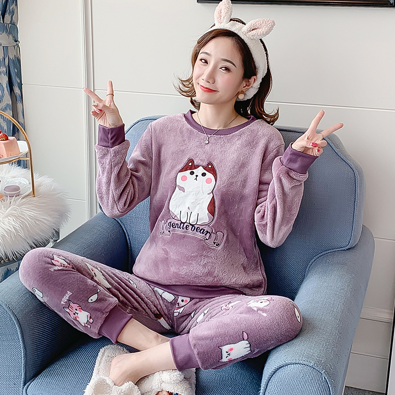 Autumn Winter Flannel Cartoon Cute Pajamas Long Sleeve Pyjamas Women Pijama Mujer Loungewear Home Clothes Sleep Set Nightwear 32