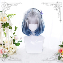 Gradient Ramp Pink Blue Lolita Cosplay Wig Girl Bobo Hairpiece Short Curly Hair Periwig 25-30 cm Wig only Without accessories
