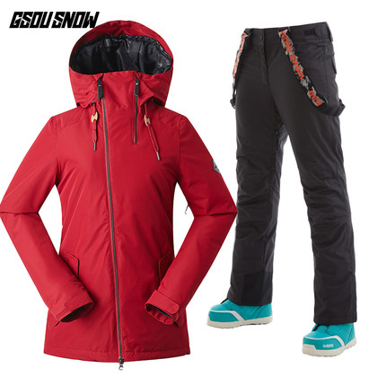 GSOU SNOW Women Ski Jacket Pant Snowboard Suit Skiing Suit Windproof Waterproof Hooded Super Warm Clothing Trouser Winter Suit