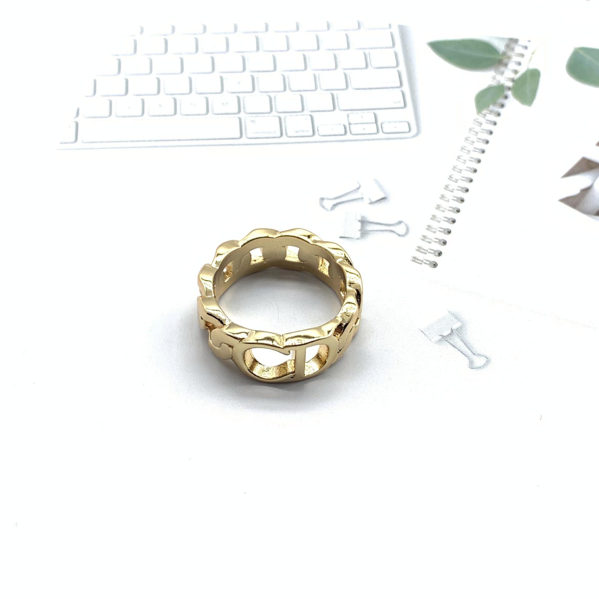 Кольцо с буквой CD в стиле ретро, классическое темпераментное кольцо в популярном стиле для веб-знаменитостей