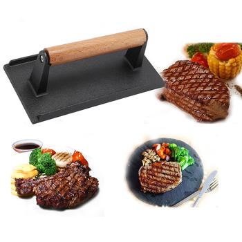 Prasa do mięsa patelnia do steków grill z drewnianą rączką profesjonalna prasa żeliwna tanie i dobre opinie HOUSEEN Tokarstwo Łatwo czyszczone Odporność na ciepło Non-stick Metal Nie powlekany