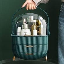 Organizador de acrílico para maquillaje, cajón de almacenamiento de cosméticos, organizador de tocador a prueba de polvo, gran almacenamiento de cosméticos, estante de mesa