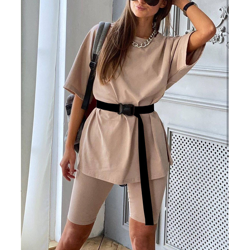 Nadafair Casual Women Set Summer Loose Long Top And High Waist Skinny Short Biker Pure 2 Pieces One Suit Outfits 2020