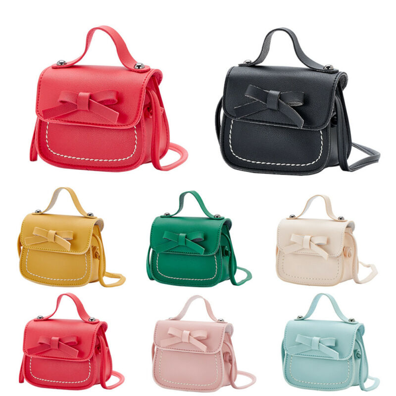 Lovely Kid Girl PU Leather Bowknot Princess Small Bow Messenger Shoulder Bag Coin Purses Toddler Children Handbag Solid 2020 NEW