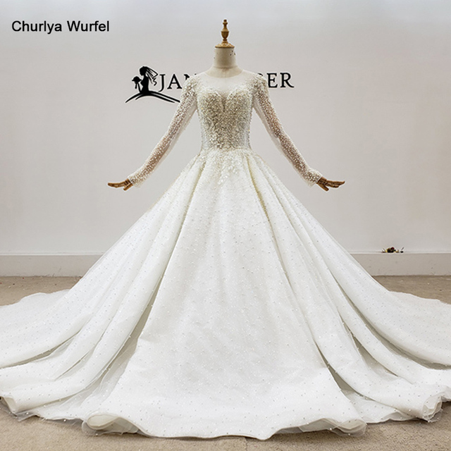 HTL1793 Luxurious White Sweetheart With Long Sleeve Pearls Wedding Dress 2020 Sequined Ball Gowns платье на свадьбу 1