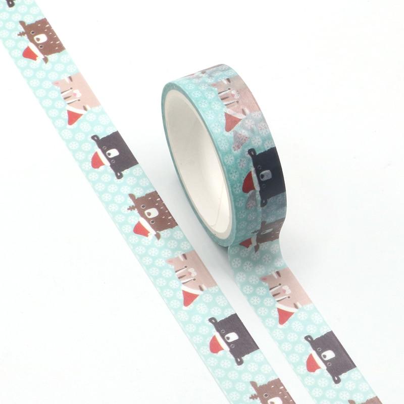 1PC 15mm * 5m Kawaii Animal Cartoon Masking Washi Tape Decorative Adhesive Tape Decor Decora Diy Scrapbooking Washi Tape