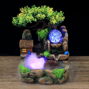 Image 3 - Led Lights Resin Rockery Flowing Water Fountain Lucky Feng Shui Wheel Office Desktop Ornaments With Nebulizer Home Decoration