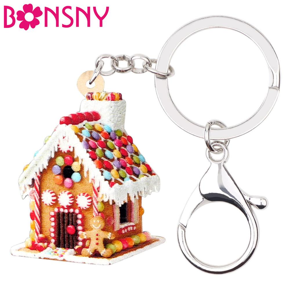 Bonsny Acrylic Christmas Colorful Sweet House Key Chains Key Rings For Women Girls Lady  Handbag Car Purse Keychains Charms Gift