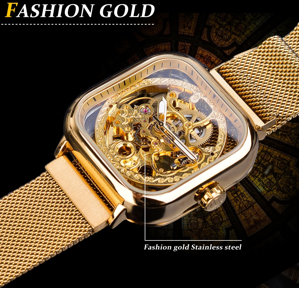 He515b27135124ee494b6d3c984802123k Forsining Men Mechanical Watches Automatic Self-Wind Golden Transparent Fashion Mesh Steel Wristwatch Skeleton Man Male Hot Hour