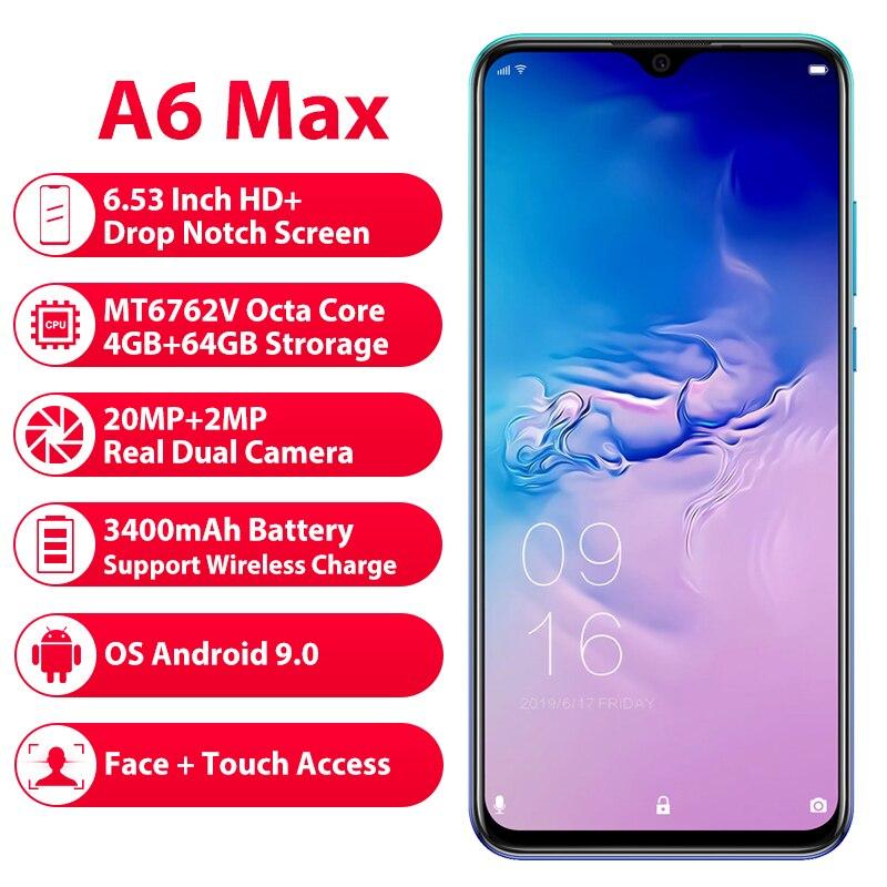 Смартфон Elephone A6 Max 6,53 ''с выемкой экрана 20 МП, отпечатком пальца MT6762V, Поддержка NFC, Беспроводная зарядка, глобальный телефон
