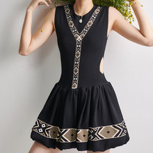 Women Pleated Mini Dress Knitted Sleeveless Hollow out Black O-neck A-line Color