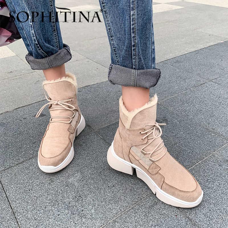 SOPHITINA אופנה שלג מגפי זמש פרה באיכות גבוהה נוח שרוכים עגול הבוהן טריז חדש נעלי מאוד חם נשים של מגפי PO313