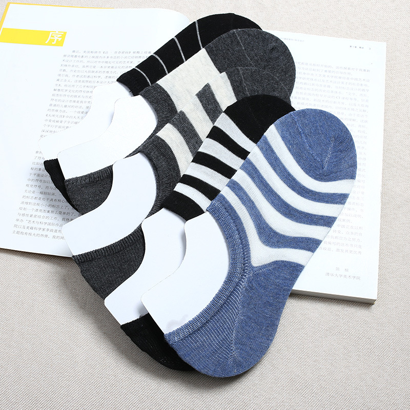 MEN'S Invisible Socks Spring Summer New Style Stripes Men's Socks Black And White Casual Socks 424