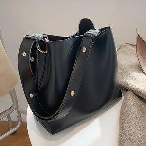 Fashion Designer Pu Leather Women's Handbags Large Capacity Casual Ladies Tote Female Black Bucket Women Shoulder Hand Bag