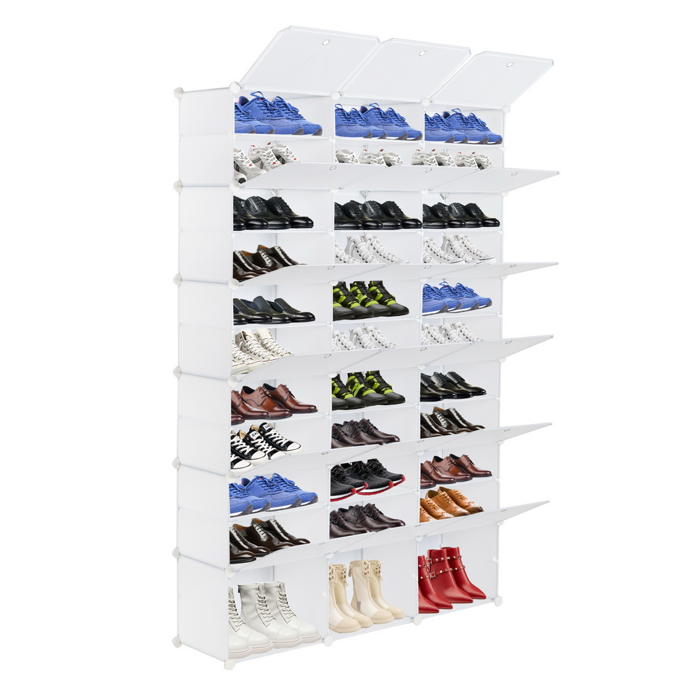 12 Tier Portable 72 Pair Shoe Rack Organizer 36 Grids Tower Shelf Storage Cabinet Stand Expandable for Heels Boots Slipper White