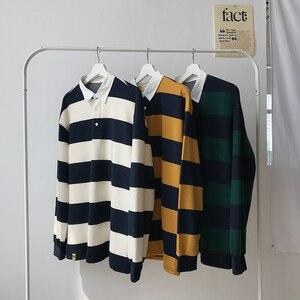 Image 4 - Мужской Хлопковый пуловер, Повседневная Свободная Толстовка с длинным рукавом и принтом в полоску, 3 цвета, 2019