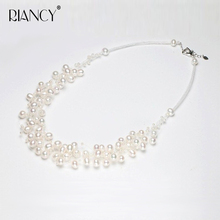 Fashion white Necklace  Natural freshwater white Pearl Choker manual Weaving for Women Bohemian style Pearl Necklace цена 2017