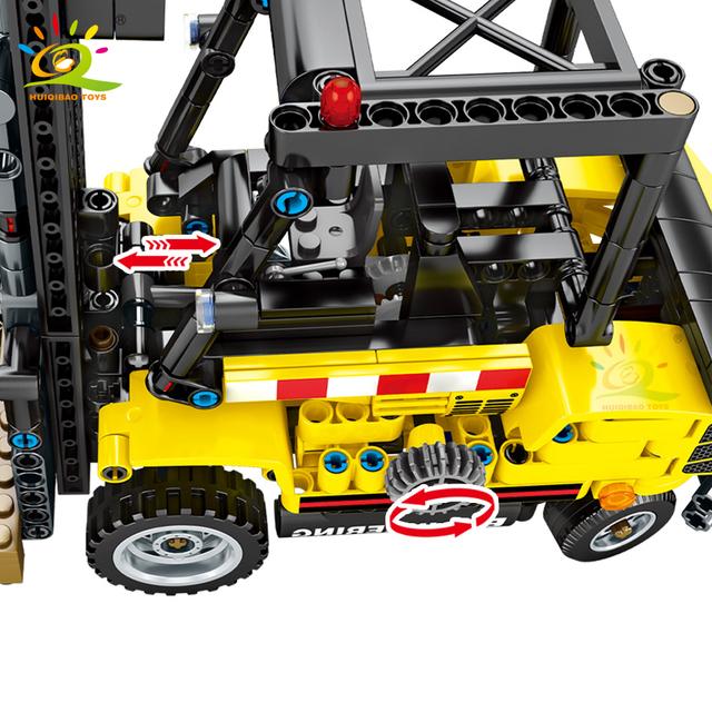 HUIQIBAO 556PCS Forklift Truck model Building Blocks Technic Engineering Car City Construction Bricks Toys For Children gift