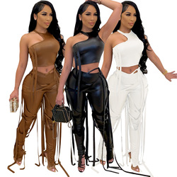 2021 PU Leather Bandage Two Piece Set Women Sexy One Shoulder Crop Top + Lace Up Slit Hem Pants Club Party 2 Piece Set Outfits