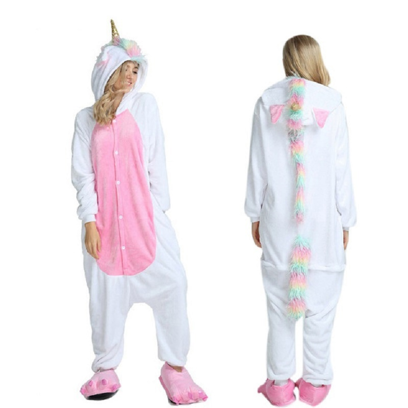 Uincorn Men Winter Flannel Sleepwear Pikachu Unicorn Pajamas Adults Cartoon Animal Onesies For Women Couple Sleepwear
