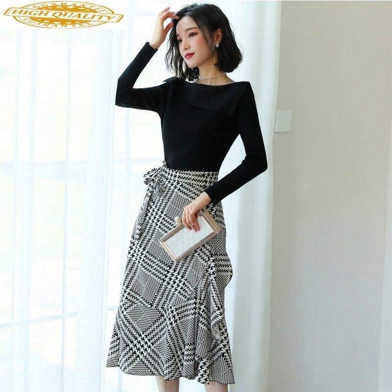 Two Piece Set Spring Autumn Women Clothes 2020 Korean Elegant Office Dress Chic Sweater + Skirt Set Long Sleeve 2 Piece ZT2086
