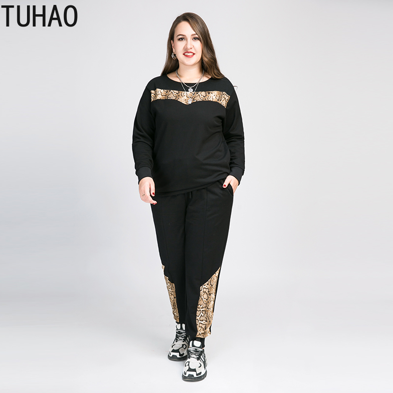 TUHAO 2020 SPRING Elegant Casual Large Size 8XL 7XL 6XL 5XL Suit Female Autumn Snake Pattern Stitching Pants Two-piece Sets WM02