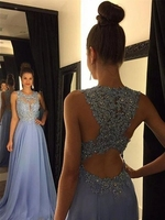 Prom/Evening Dress A Line/Princess Scoop Sleeveless Sweep/Brush Train Sky Blue Chiffon with Applique