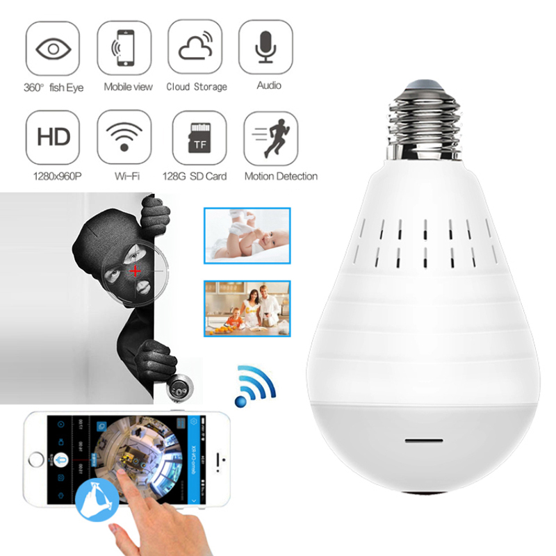 Light Lens Lamp Camera Bulb Wifi Fisheye Panoramic Cloud Indoor Home-Security 1080P Wireless