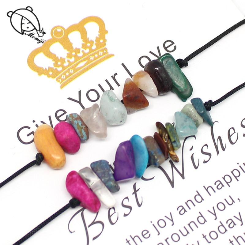 Набор браслетов Momiji из натурального камня, 2 шт., Женская веревочная цепочка, все богемные Свадебные украшения ручной работы, очаровательные...