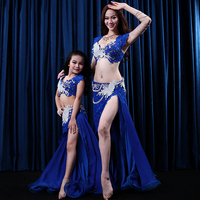 New BellyDance Costume Women Kids Girl Parent child Sexy Bra+Split Skirt Oriental Dance Performance Contest Suit StageWear Dress