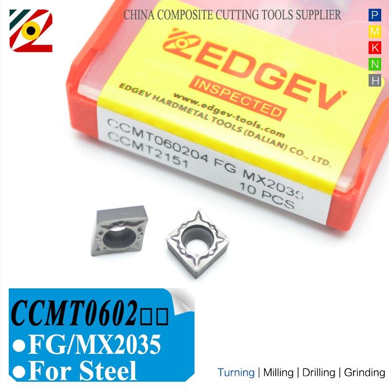 EDGEV coupeur Cermet Inserts CCMT060202 CCMT060204 FG CCMT métal et céramique, alésage CNC de tour, outils de tournage, usinage de l'acier CT3000