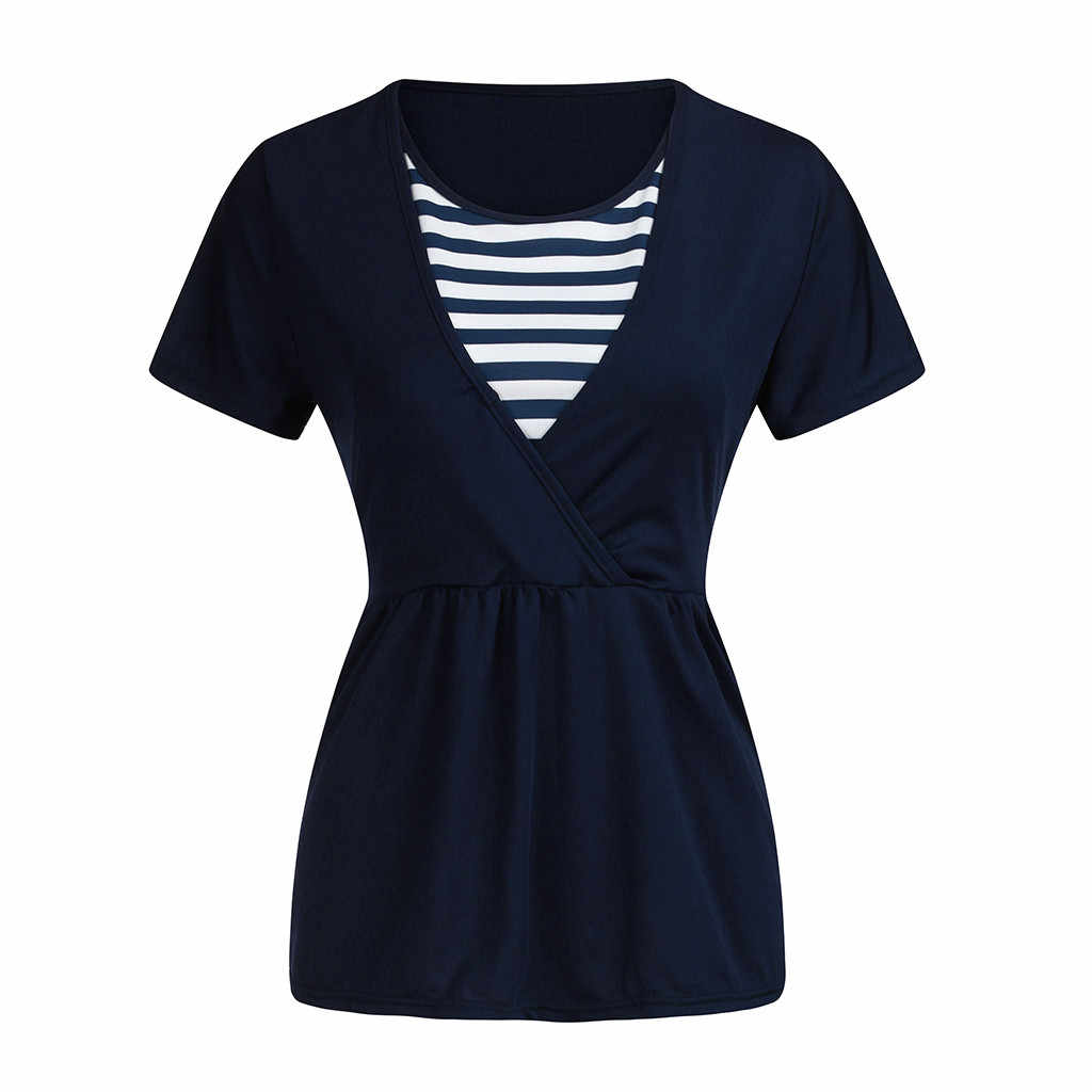 TELOTUNY Women Pregnant Nursing tops Short sleeve Striped Patchwork t-shirt Maternity Top for Breastfeeding Blouse Clothes ZS20