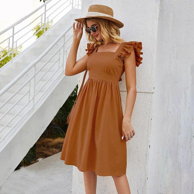 Sleeveless Dress Casual Mini Skirt Short Ruffled Sleeves 3