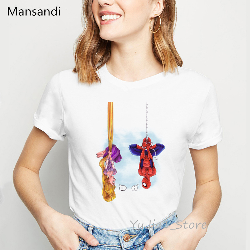 Funny T Shirts Women Clothes 2019 Spiderman Princess Printed T-shirt Camisetas Mujer Spoof Personality Vogue Tshirt Femme Tops