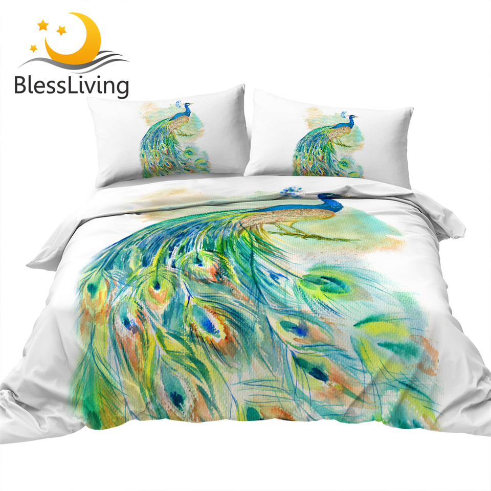 BlessLiving Colorful Peacock Bed Set 3 Piece Turquoise Bird Duvet Cover Watercolor Feathers Bedding Set Ethnic Bedspread Queen(China)