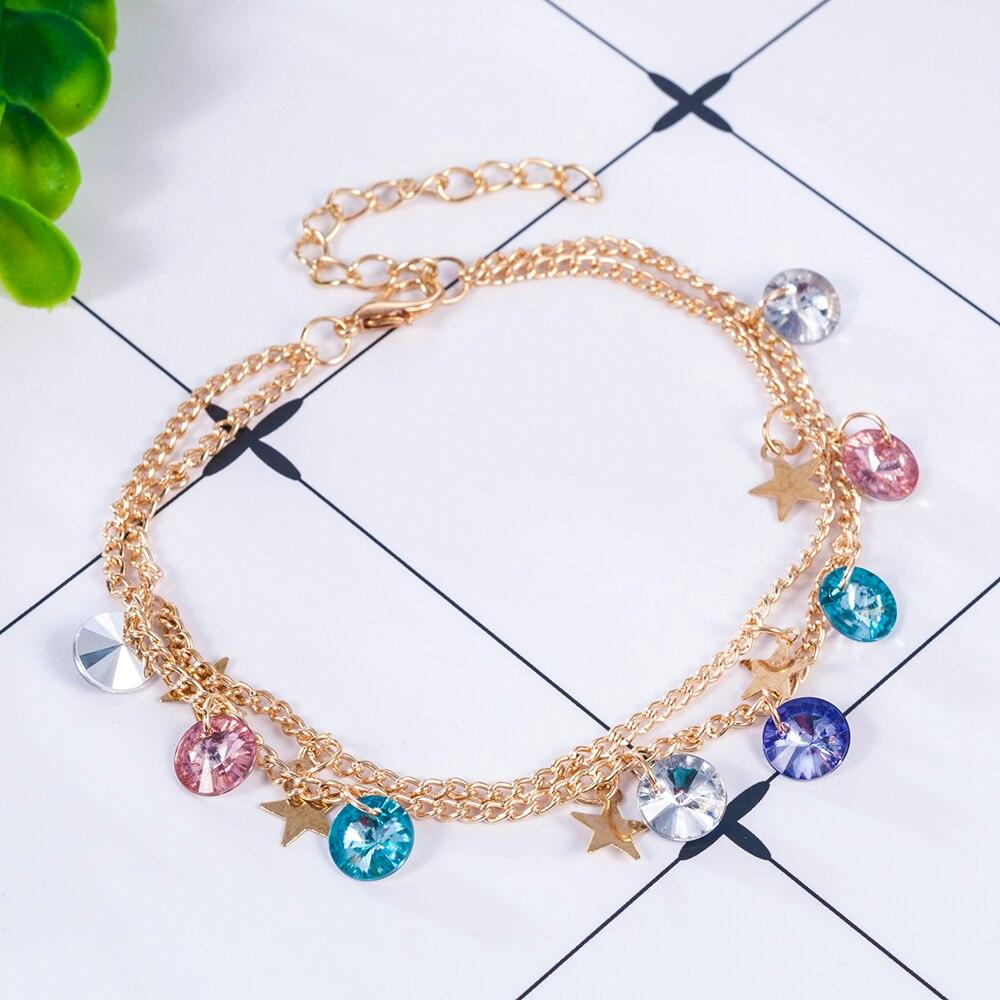 Modern Simple Multi-layer Star Anklets Set for Women Vintage Handmade Anklet Bracelet on Leg Beach Party Ocean Jewelry