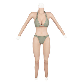 Transgender CD Cosplay Costume Capri with Arm One-Piece Suit Silicone Breast Artificial Breast Cross-Dressing Hip Fung Across
