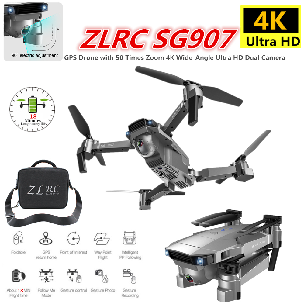 ZLRC SG907 RC GPS Drone with 5G WiFi <font><b>90</b></font>° Electric Adjustment 4K Camera Follow Me Quadrocopter Foldable Quadcopter VS S167 E520S image