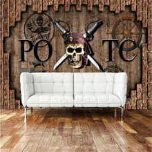 цена Milofi custom 3D retro brick Caribbean Pirate Bar wallpaper large mural decoration painting онлайн в 2017 году
