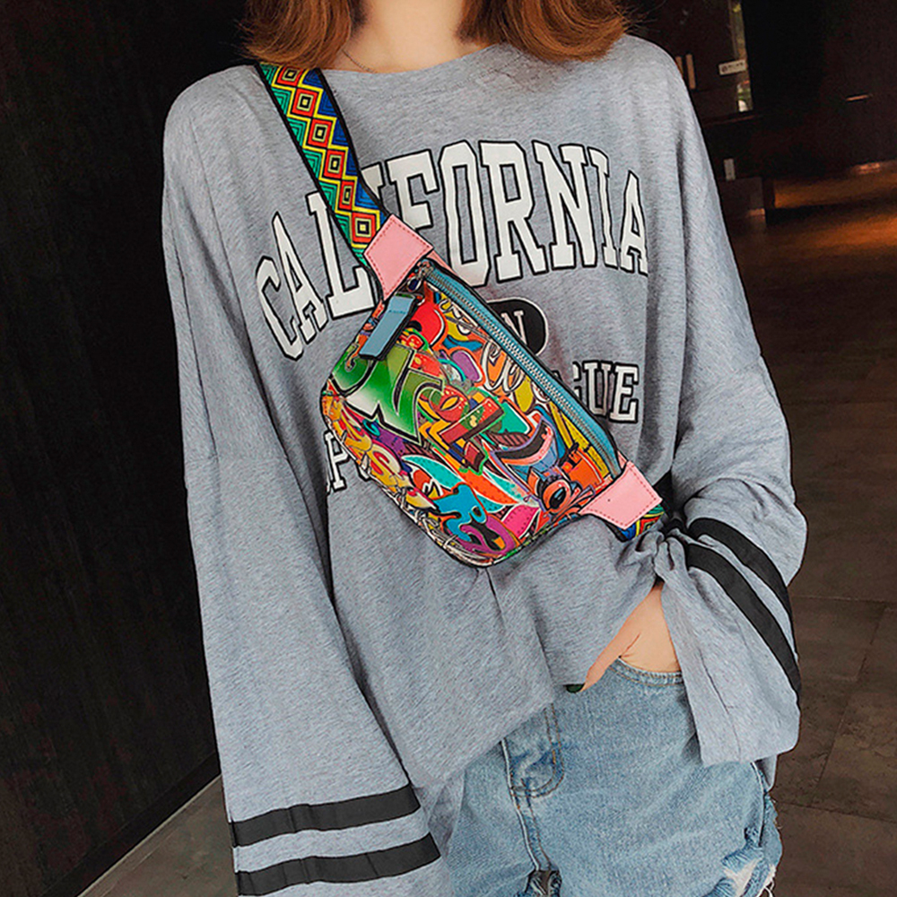 B02087 Chic Street  Belt Bag Women Fanny Pack Fashion Colorful Graffiti Chest Bags Girls Small Crossbody Shoulder Bag