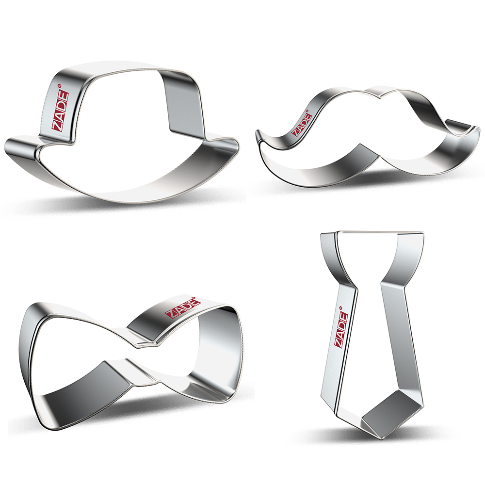 ZADE Father's Day Cookie Cutters  Necktie, Moustache Biscuit And Fondant Cutter - Stainless Steel