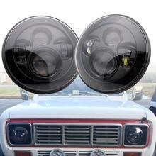 цена на 7inch Round Led Headlight High Low Beam Light Halo Angle Eyes DRL Headlamp For JeepLadaJK TJ Wrangler