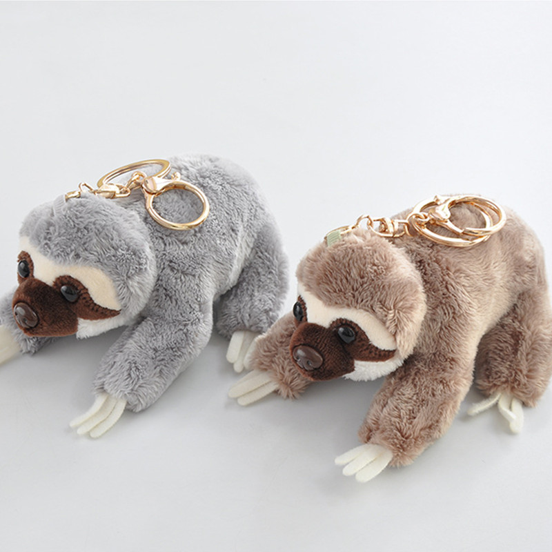 12cm Creative Cute Lying Sloth Plush Bag Pendant Staffed Kawaii Animal Plush Toys For Kids Children Lovely Doll Key Chains Gift