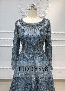 Image 3 - Дубай вечернее платье с длинными рукавами ТРАПЕЦИЕВИДНОЕ кружевное роскошное вечернее платье с кристаллами и бусинами официальное вечернее платье Vestido de Festa Longo