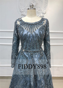 Image 3 - Dubaj suknia wieczorowa z długimi rękawami linia kryształowa koronki z kryształkami luksusowa suknia wieczorowa sukienka na formalną imprezę Vestido de Festa Longo