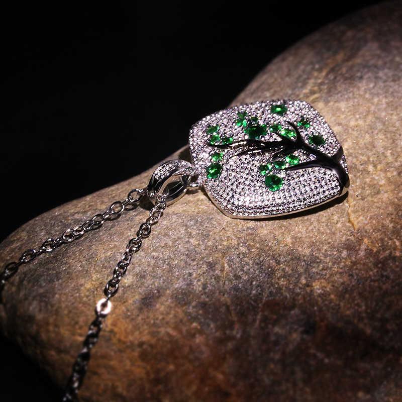 Zircon coloré feuilles branche pendentif pour femmes branche étincelant rose cerisier arbre CZ délicat mode collier bijoux