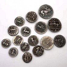 Full Set 16 Pieces Greek Alien Relief Horse Antique Copper Old Silver Medal Commemorative Coin Badge Collectible Gift Ms01